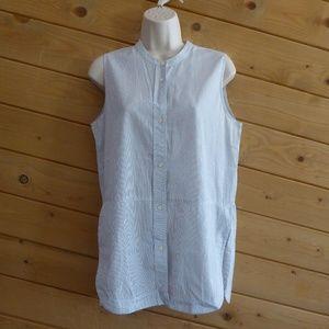Vince Stripe Sleeveless Button Down Shirt Blouse M